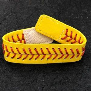 🍀CLOSEOUT🍀Softball Stitch Leather Wrap Bracelet